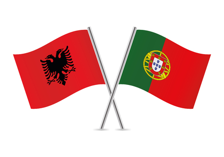 Albania and Portugal flags on white background, vector illustration. Illustration