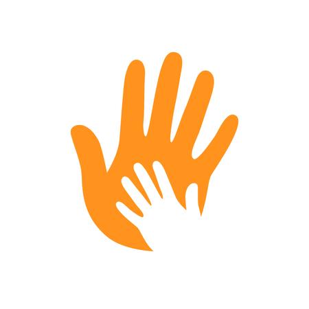 Vector hands. Hand care. Childish hand. Support symbol. Helpful people. Hand on hand. Two hands. Vektorgrafik
