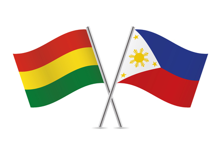 Bolivia and Philippines flags. Vector illustration.