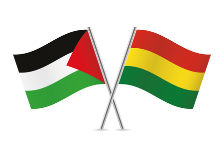 Palestine and Bolivia flags. Vector illustration.