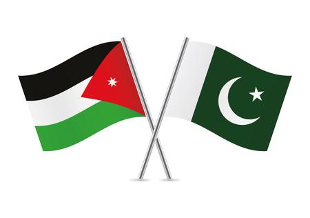 Jordanian and Pakistani flags. Vector illustration. Illustration