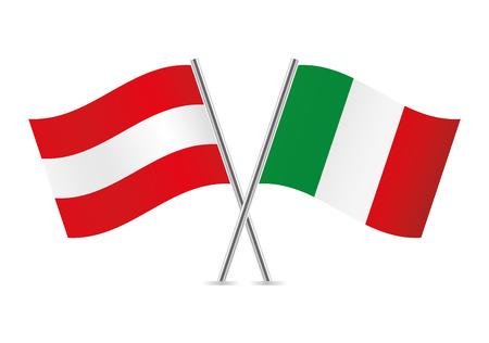 Austrian and Italian flags. Vector illustration. Standard-Bild - 115660921
