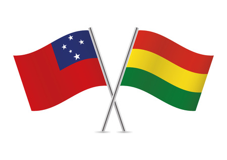 Samoa and Bolivia flags. Vector illustration. Ilustração