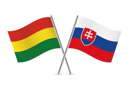 Bolivia and Slovakia flags. Vector illustration. Ilustração