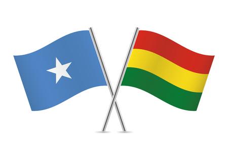 Somalia and Bolivia flags. Vector illustration.