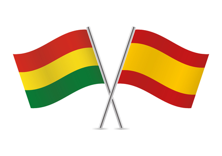 Bolivia and Spain flags. Vector illustration. Ilustracja