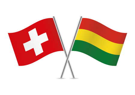Switzerland and Bolivia flags. Vector illustration.