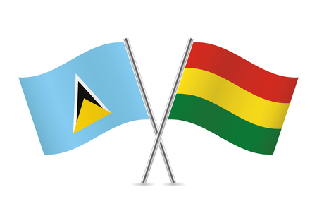 Saint Lucia and Bolivia flags. Vector illustration.