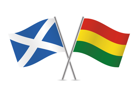 Scotland and Bolivia flags. Vector illustration. Ilustracja