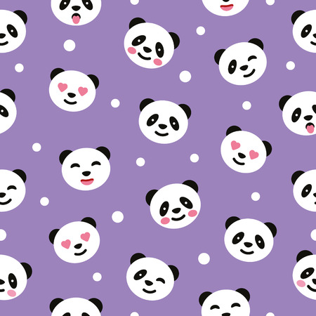 Seamless pattern with panda. Vector illustration.