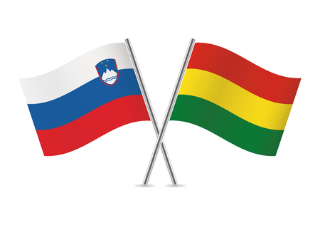 Slovenia and Bolivia flags. Vector illustration.