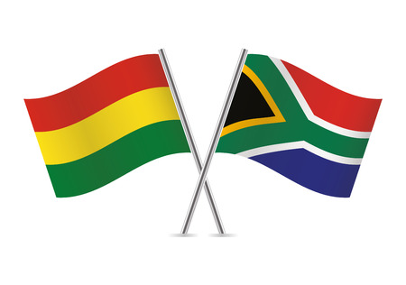 Bolivia and South Africa flags. Vector illustration.