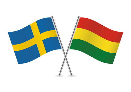 Sweden and Bolivia flags. Vector illustration.