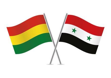 Bolivia and Syria flags. Vector illustration.