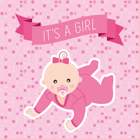 Baby shower greeting card with baby girl. Vector illustration.