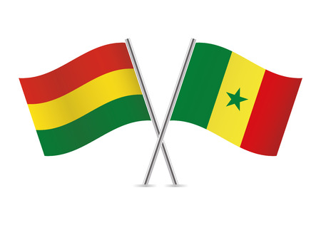 Bolivia and Senegal flags. Vector illustration. Ilustracja