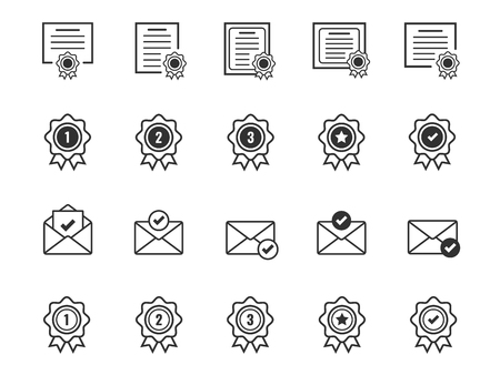 Set of Certificate and Award medal icons. Accepted approve and Confirm mail symbols. Ilustracja