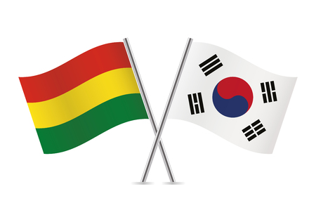 Bolivia and South Korea flags. Vector illustration.