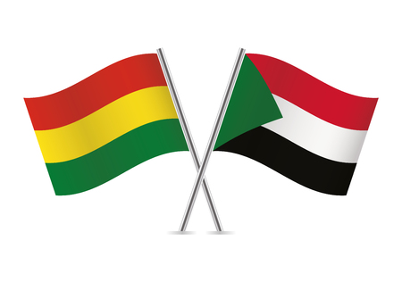 Bolivia and Sudan flags. Vector illustration.