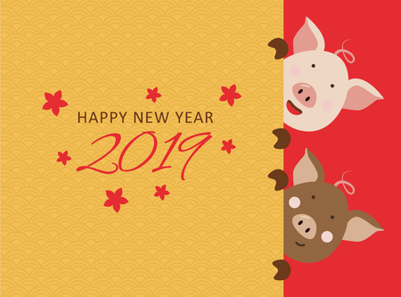 Happy Chinese new year 2019, the year of pig. Vector banner, background.