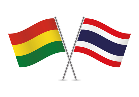 Bolivia and Thailand flags. Vector illustration.