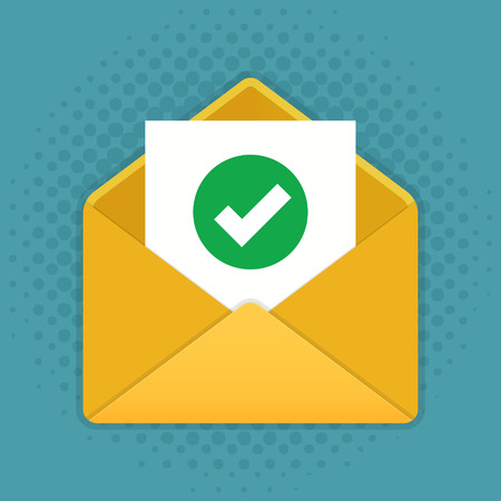 Mail icon, envelope with document and check mark, accept sign. Vector illustration. Ilustracja
