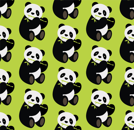 Seamless panda bear pattern. Vector illustration.