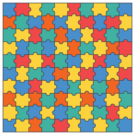 Colorful puzzles pieces pattern. Jigsaw puzzle template.