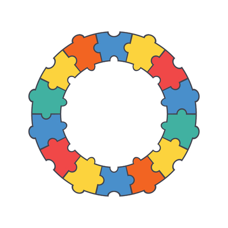 Puzzle circle. Puzzle round.Vector illustration.