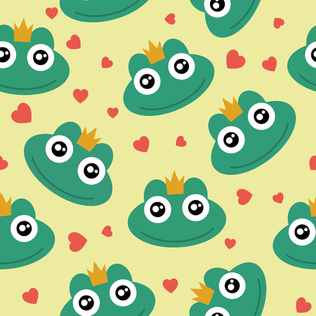 Frog cute seamless pattern for kid, animal cartoon background, vector illustration.