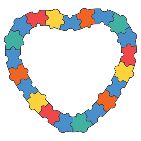 Abstract puzzle heart border, frame. Vector illustration.