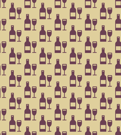 Seamless wine bottles and glasses pattern. Vector background. Ilustracja