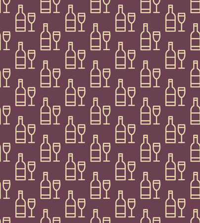 Seamless wine bottles and glasses pattern. Vector background. Ilustrace