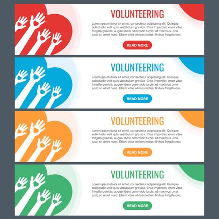 Volunteer web banner templates. Hands with hearts. Raised hands volunteering vector concept. Stok Fotoğraf - 124001945