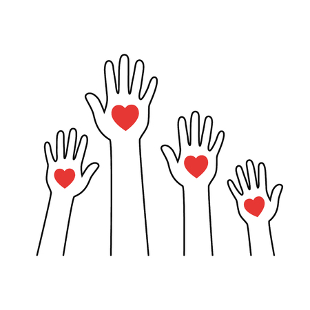 Hands with hearts. Volunteering vector Icon.