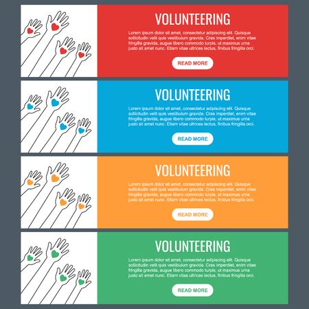 Volunteer web banner templates. Hands with hearts. Raised hands volunteering vector concept.