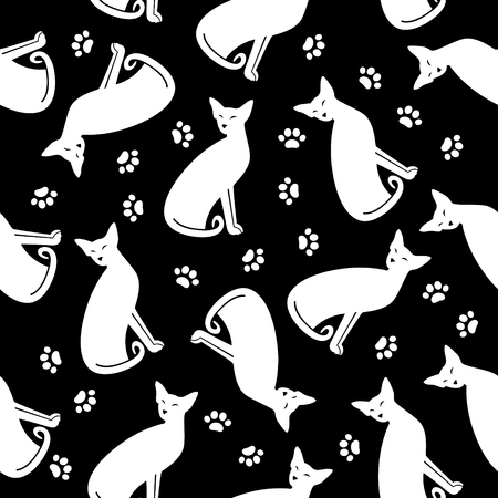 Seamless pattern with white cats and traces on black background. Ilustrace