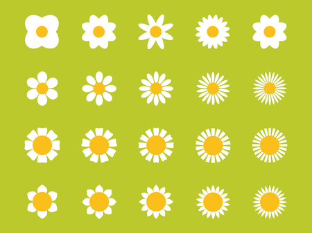 Cute flower plant collection. Isolated on green background. Vector illustration.