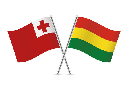 Bolivia and Tonga flags. Vector illustration.