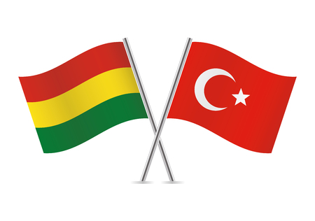 Bolivia and Turkey flags. Vector illustration. Ilustrace