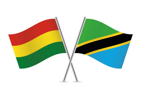 Bolivia and Tanzania flags. Vector illustration.