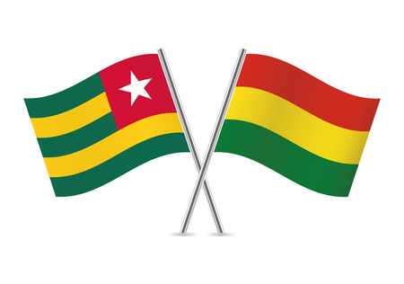Togo and Bolivia flags. Vector illustration.