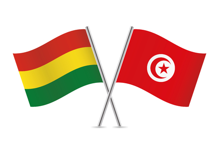 Bolivia and Tunisia flags. Vector illustration.