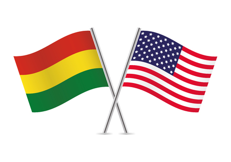 Bolivia and American flags. Vector illustration.