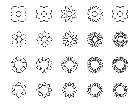Flower plant collection icons, symbols. Isolated on white background. Vector illustration.
