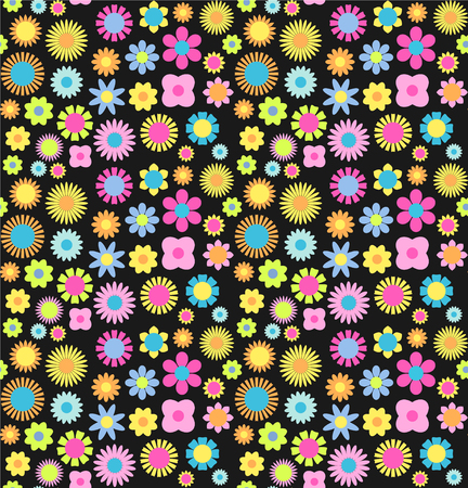 Cute colorful floral seamless pattern. Vector background.