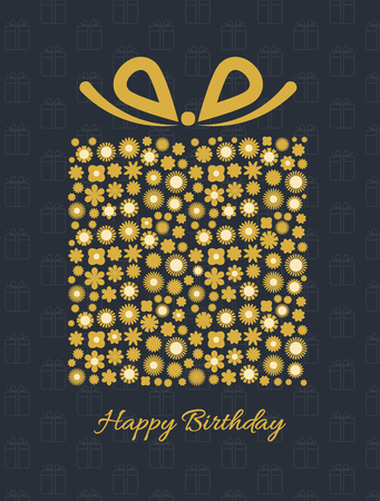 Gift box with floral pattern. Birthday Card. Celebration black background with gift box and small flowers. Vector illustration. Ilustracja