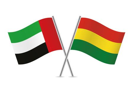 United Arab Emirates and Bolivia flags. Vector illustration.