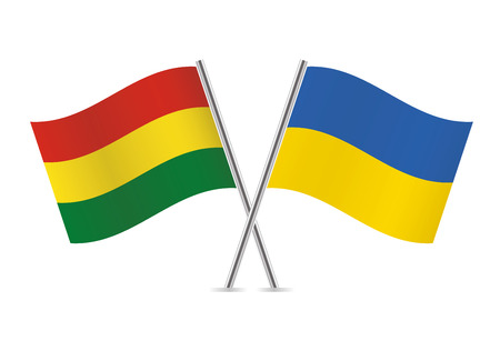 Bolivia and Ukraine flags. Vector illustration.
