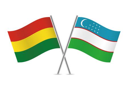 Bolivia and Uzbekistan flags. Vector illustration. Illustration